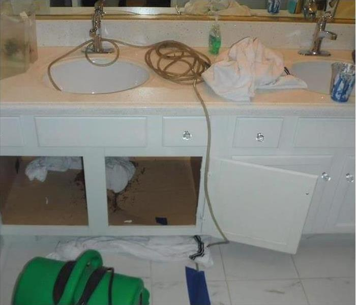 Photo of placed SERVPRO equipment in a bathroom