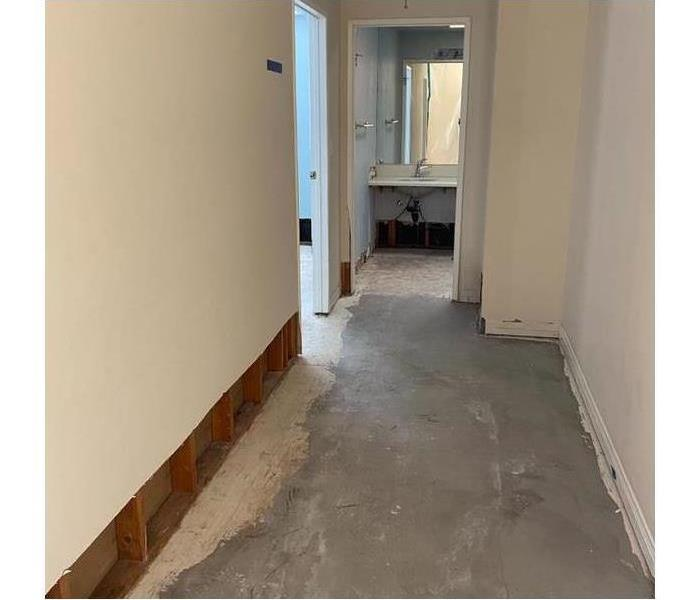 Photo of hallway showing evenly cut drywall.